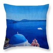 Santorini Greece View From Oia To Caldera Throw Pillow
