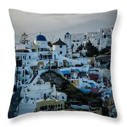 Santorini Misty Morn Throw Pillow