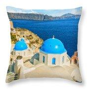 Santorini Oia Church Caldera View Digital Painting Throw Pillow
