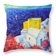 Santorini Oia Colors Modern Impressionist Impasto Palette Knife Oil Painting By Ana Maria Edulescu Throw Pillow