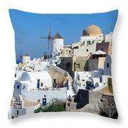 Santorini Oia Throw Pillow