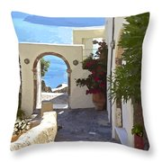 Santorini Pathway Throw Pillow