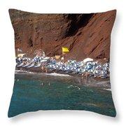 Santorini Red Beach   Throw Pillow