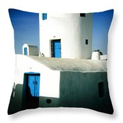 Santorini Silo With Border Throw Pillow