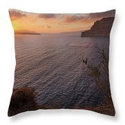 Santorini Sunset Caldera Throw Pillow