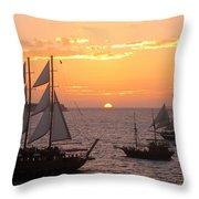 Santorini Sunset Sails Throw Pillow