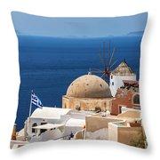 Santorini Windmill And Church Throw Pillow