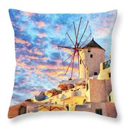 Santorini Windmill At Oia Digital Painting Throw Pillow
