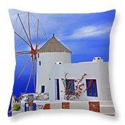 Santorini Windmills Throw Pillow