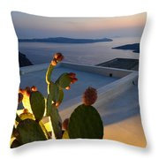 Santorini.fira Sunset Throw Pillow