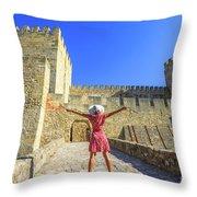 Sao Jorge Castle Tourist Throw Pillow