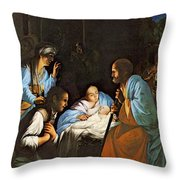 Saraceni Carlo The Birth Of Christ Throw Pillow
