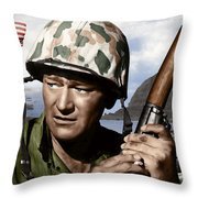 Sargent Stryker U S M C  Iwo Jima Throw Pillow