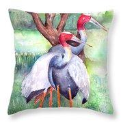 Sarus Cranes Throw Pillow