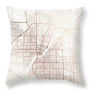 Saskatoon Street Map Colorful Copper Modern Minimalist Throw Pillow