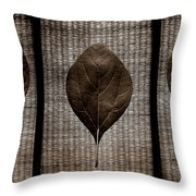 Sassafras Leaves With Wicker Throw Pillow