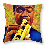 Satchmo, Louis Armstrong Painting Throw Pillow