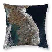 Satellite View Of Snowfall Along South Throw Pillow