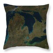 Satellite View Of The Great Lakes, Usa Throw Pillow