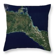 Satellite View Of The Island Of Guam Throw Pillow