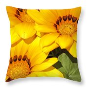 Satin Yellow Florals Throw Pillow