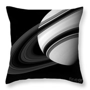 Saturn And Tethys Throw Pillow