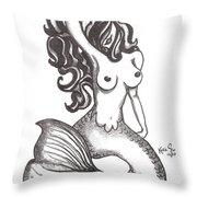 Saucy Mermaid Throw Pillow
