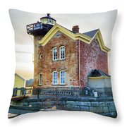 Saugerties Lighthouse Throw Pillow by Nancy De Flon