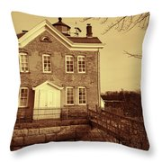 Saugerties Lighthouse Sepia Throw Pillow by Nancy De Flon