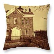 Saugerties Lighthouse Sepia Throw Pillow
