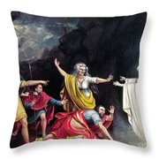 Saul & Witch Of Endor Throw Pillow