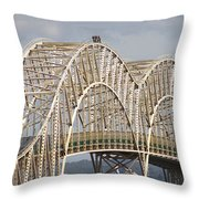 Sault Ste Marie International Bridge Arch Throw Pillow by Danielle Allard