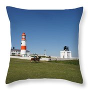 Souter Lighthouse And Foghorn. Throw Pillow