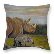Savanna Overlook, Rhinoceros  Throw Pillow