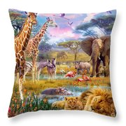 Savannah Animals Throw Pillow