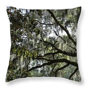 Savannah Green Leaves Throw Pillow