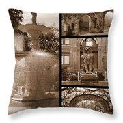 Savannah Landmarks In Sepia Throw Pillow
