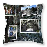 Savannah Scenes Collage Throw Pillow