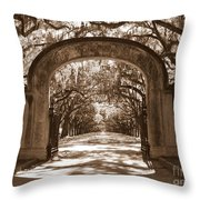 Savannaha Sepia - Wormsloe Plantation Gate Throw Pillow