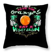 Save Oranges Eat Vegetarian Zombie Throw Pillow