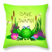 Save The Swamp Twitchy The Frog Throw Pillow