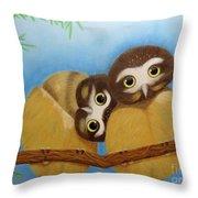 Saw-whet Owls Throw Pillow