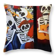 Sax Guitar Music Day Of The Dead  Throw Pillow