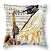 Sax Man With A Yellow Hat Throw Pillow