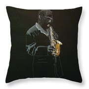 Sax Player Throw Pillow