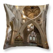 Saxon Baptismal Font Wells Cathedral, Somerset Uk Throw Pillow