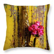 Saxophone And Roses On Wall Throw Pillow