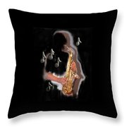 Saxophone Player Abstract  Throw Pillow