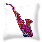 Saxophone With Shadow White Background Throw Pillow