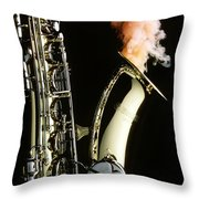 Saxophone With Smoke Throw Pillow